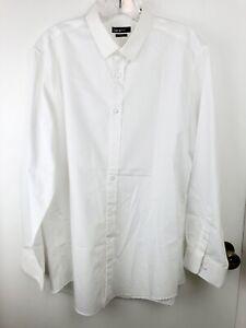 Bar III Men's Dress Shirt Slim Fit White Collar Long Sleeve L 16.5 32-33