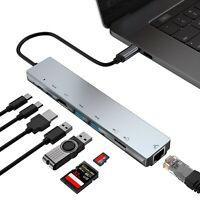 6in1 Type C to USB-C USB3.0 HDMI VGA PD Hub Adapter Docking Station For NoteBook