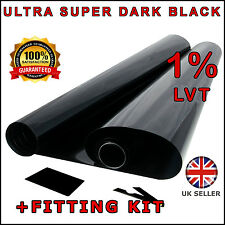 ULTRA SUPER DARK BLACK 1% CAR WINDOW TINT ROLL 3M x 75CM FILM TINTING
