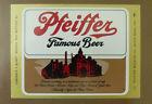 VINTAGE AMERICAN BEER LABEL - PFEIFFER BREWERY, FAMOUS BEER 12 FL OZ