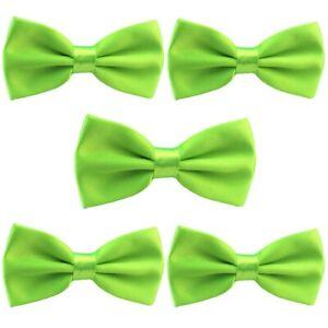 5 PCS Men Classic Satin Bow Tie Wedding Party School Adjustable Solid Bowtie