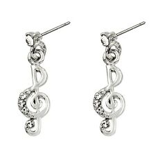 Treble Clef Music Note Fashionable Earrings - Dangle Post - Sparkling Crystal