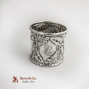 Repousse Floral Sterling Silver Napkin Ring MLT 1890