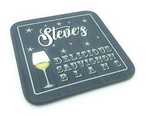 Personalised Custom Name Sauvignon Blanc Wine Wooden Gift Drinks Coaster Grey