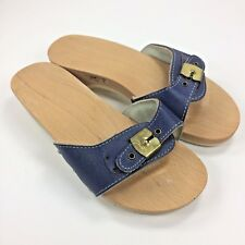 Vintage Navy Blue Dr Scholls Wood Leather Exercise Sandal Slide Austria Made, 7