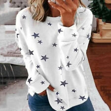 Womens Star Print Long Sleeve T-shirts Loose Pullover Ladies Casual Blouse Tops
