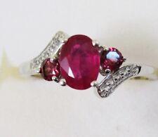 Genuine Ruby & Rhodolite Garnet Ring in 925 Sterling Silver size 7