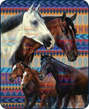 SOUTHWESTERN HORSES 79 x 96 QUEEN BLANKET : WESTERN RANCH NATIVE PLUSH BED COVER