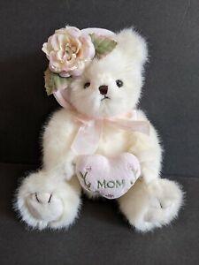 "9"" Bearington Collection Mommy Tenderheart Teddy Bear Mother White Heart Mom Day"