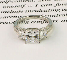 Cut Cubic Zirconia 14K White Fn. Princess Cut Engagement Ring 3 Stone Brilliant