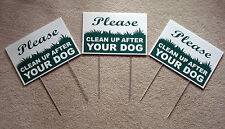 """3 PLEASE CLEAN UP AFTER YOUR DOG  8""""X12"""" Plastic Coroplast Signs with Stake  NEW"""