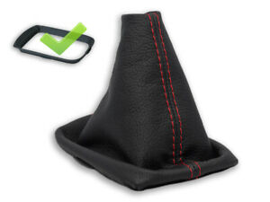 FOR VOLVO C30 S40 V50 GEAR BOOT GAITER LEATHER STITCH RED + FRAME