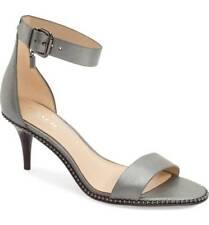 COACH Maude Ankle Strap Sandal Heel Metallic Seafoam Grey Size US 7.5 EU 38