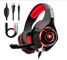 Beexcellent Auriculares Gaming Premium Stereo con Micrófono para PS4 PC Xbox One - Negro/Rojo