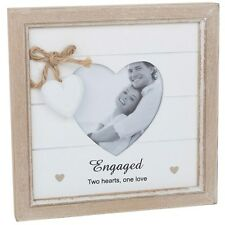 Engaged 2 Hearts 1 Love Engagement Gift Shabby Chic Heart Wooden Photo Frame PR