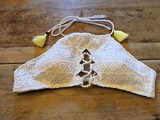 "White Crochet LARGE Victoria's Secret ""LACE UP HIGH NECK HALTER"" Bikini Swim TOP"