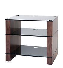 HiFi Stand, Hi-Fi Rack, Three Shelf, Natural Walnut, Black Glass, STAX 300, BLOK