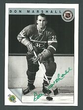 Don Marshall Montreal Canadiens 1992 Ultimate Original Six Auto Card #13
