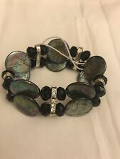 Black Shell 2 Row Bracelet With Black Glass Bead & Crystal Spacers