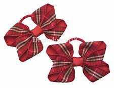 Tartan ribbon hair bows on thick bobbles/elastics, girls tartan hair accessories