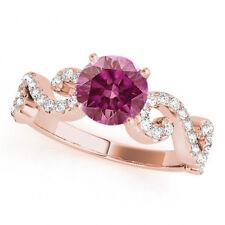 0.83 Ct Purple Pink Diamond Solitaire Ring Stunning 14k RG Valentine Day Sale