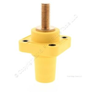 Hubbell Yellow 1-Pole Panel Mount Female Outlet Threaded Mounting Bulk HBLFRSY