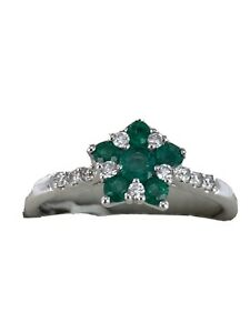 9ct White Gold Emerald Diamond Cluster Ring Very Nice Colours New