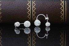 Double cubic zirconia round ball front to back sterling silver 925 stud earring
