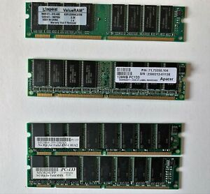 PC133 DIMM CL2 RAM Modules (256MB, 96MB, 128MB) - bundle (4 sticks)
