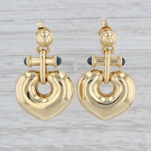 Unique Heart Drop Earrings Blue Sapphires 18k Yellow Gold Pierced