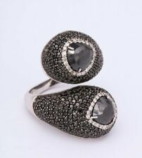 Amazing 8.10ctw Black and White Cubic Zirconia 925 Silver Wrap Women Bypass Ring