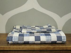 POTTERY BARN KIDS Twin Quilted Blue White Plaid Comforter & Pillow Sham Set #1