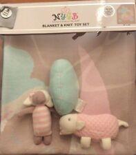 TOBY NIP Not Your Grandma's Blanket NYGB Baby Girl Gift Set Blanket + Toys