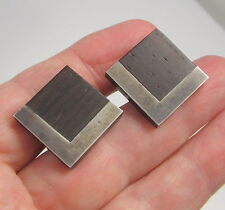 Estate Vintage Rare Signed ESTHER LEWITTES Sterling Silver Inlaid Wood Cufflinks