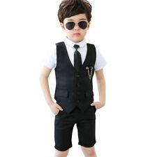 Summer Kids Suit Boys blazer short sleeve Boys Tuxedo Shirts Waistcoat pant Ties