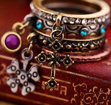 Juego de 4 estilo vintage bronce banda anillos con cristal