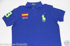 Polo Ralph Lauren Men Blue Neon Shirt Big Pony Spain Flag XLarge XL CUSTOM FIT
