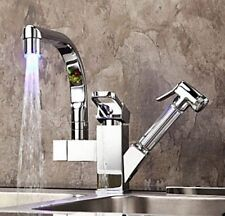 AS LED 360 ° Swivel Pull Out Spray Basin Sink Kitchen Faucet Mixer Tap Chrome