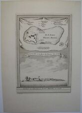 1740s ENGRAVING BUNCE ISLAND SIERRA LEONE RIVER AFRICA ENGLISH SLAVE TRADE FORT