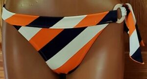 Victoria's Secret Swim Bottom Orange/Navy/White Stripes Hip Ring/Tie Lined M