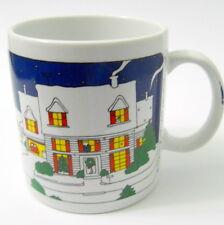 Taylor & Ng 1980 Joyous Noel Coffee Mug Snow Moon Christmas Decorated House