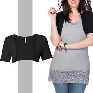 wow neu Gr.54/56 BOLERO Shirt Jäckchen Jacke Jersey schwarz 100%Baumwolle