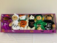 Quacker Factory New In Box Halloween Costumed Teddy Bears - Set of 6 - Adorable!