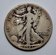 SCARCE F/VF1921-S Walking Liberty Half Dollar COIN Silver, RARE KEY DATE , 50C !