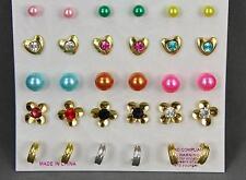 Set Pack of 15 pair flowers hearts hoops faux pearl ball bead stud post earrings