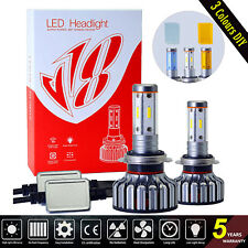 4 Sides LED Headlight Kits H7 Hi/Low Beams Bulbs 120W 12800lm 6000K 3 Colors DIY