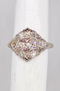 Antique 1940s $6000 1.50ct VS I Old Euro Diamond PALLADIUM Filigree Band Ring