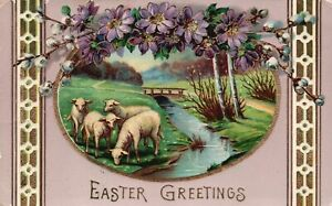 Vintage Postcard 1913 Easter Greetings Sheep Pasture Flower Holiday Special