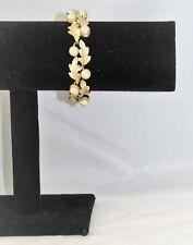 """Vintage Designer Signed LISNER Faux Pearl Gold Tone Leaf Bracelet 3/4"""" Wide"""