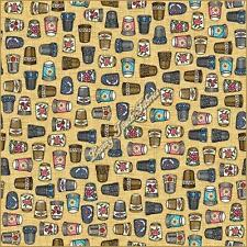"""""""THIMBLE PLEASURES"""" QUILTING TREASURES SEWING THEME FABRIC PRICED @ 1/2 YD"""
